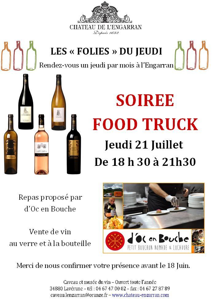 Soirée food truck au château de l'Engarran jeudi 21 juillet