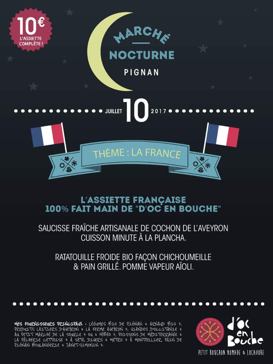 Marché nocturne de Pignan spécial cuisine française le lundi 10 juillet